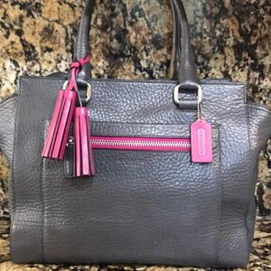 Coach Legacy Pebbled Leather Tassel Tote